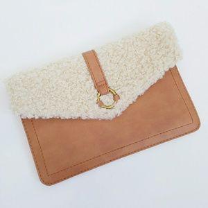 Universal Thread Wool Fleece Faux Leather Clutch